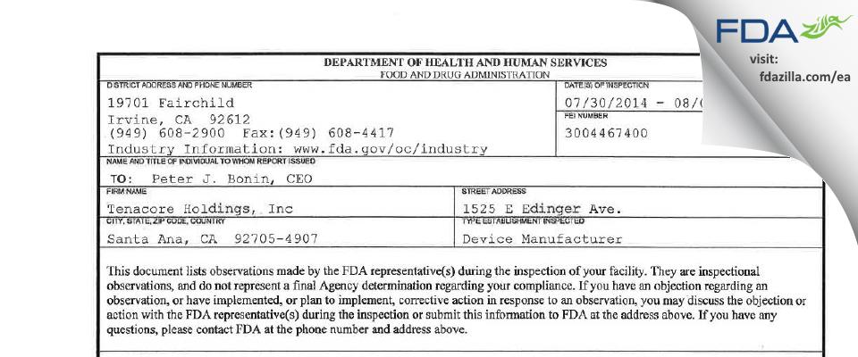 Tenacore Holdings FDA inspection 483 Aug 2014
