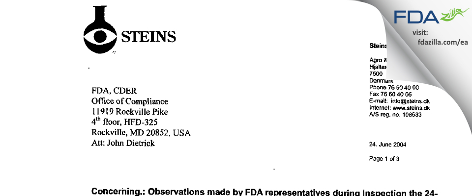 Steins Laboratorium A/S FDA inspection 483 May 2004