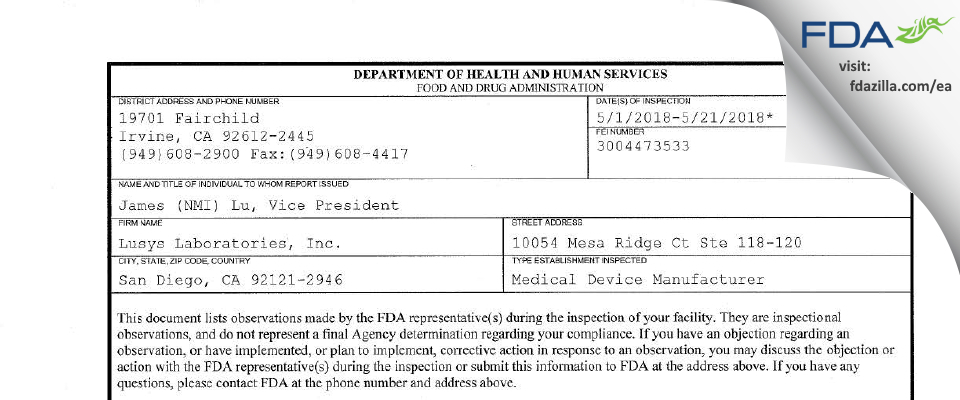 Lusys Labs FDA inspection 483 May 2018