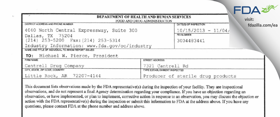 Cantrell Drug Company FDA inspection 483 Nov 2013