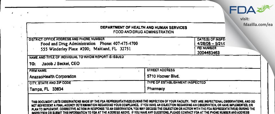Coast Quality Pharmacy dba Anazao Health FDA inspection 483 May 2008