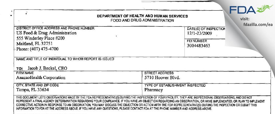 Coast Quality Pharmacy dba Anazao Health FDA inspection 483 Dec 2009