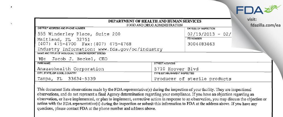 Coast Quality Pharmacy dba Anazao Health FDA inspection 483 Feb 2013