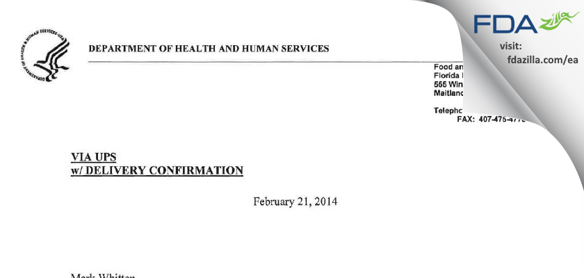 Coast Quality Pharmacy dba Anazao Health FDA inspection 483 Feb 2013