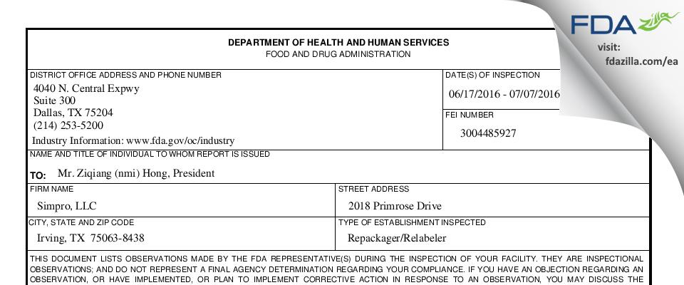 Simpro FDA inspection 483 Jul 2016