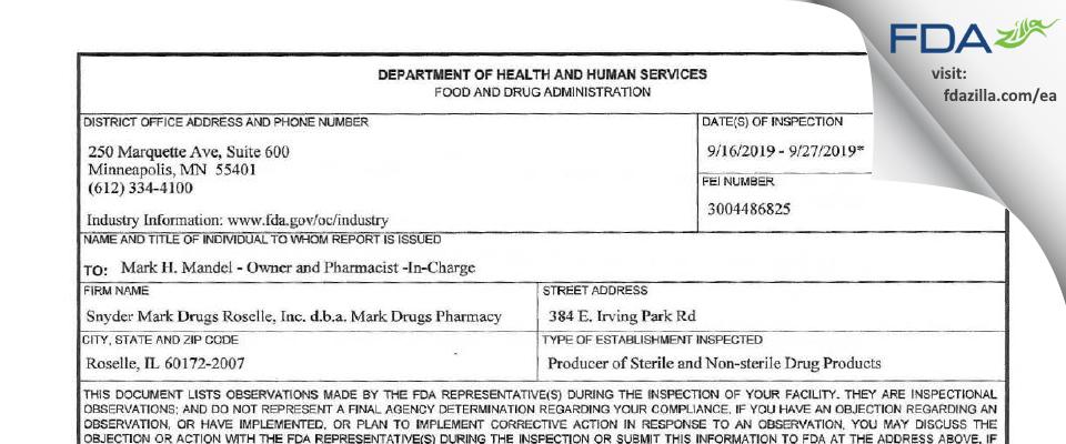 Snyder Mark Drugs Roselle d.b.a. Mark Drugs Pharmacy FDA inspection 483 Sep 2019