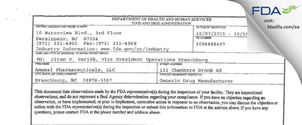 Amneal Pharmaceuticals FDA inspection 483 Oct 2015