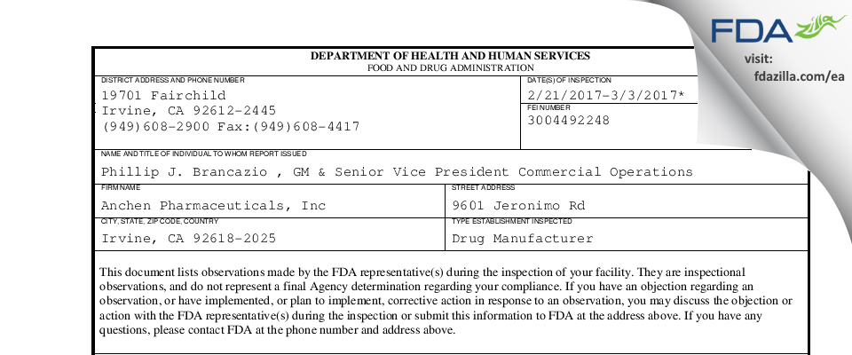 Anchen Pharmaceuticals FDA inspection 483 Mar 2017