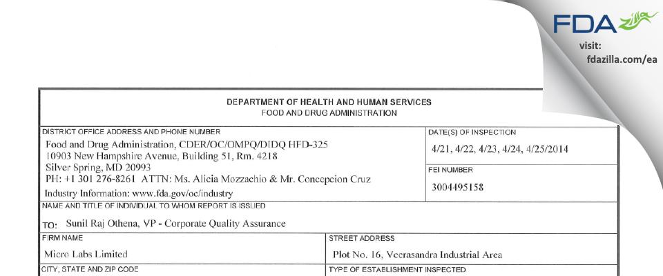 Micro Labs FDA inspection 483 Apr 2014
