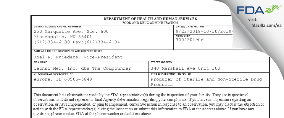 Techni Med dba The Compounder FDA inspection 483 Oct 2019