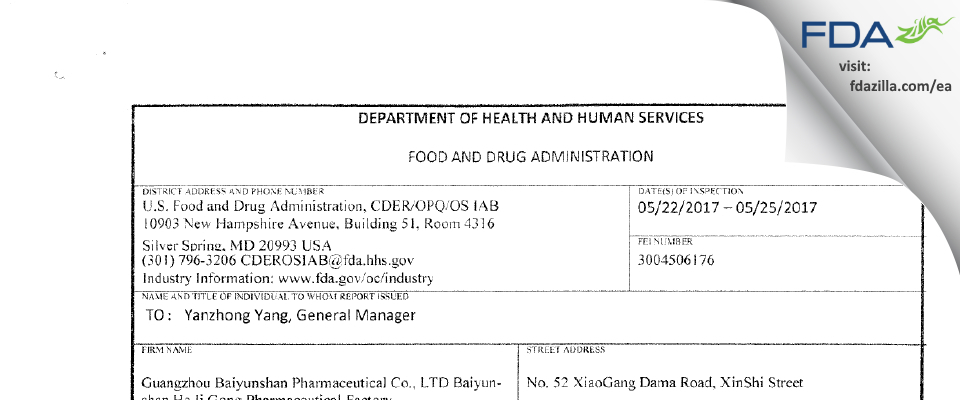 Guangzhou Baiyunshan Pharmaceutical FDA inspection 483 May 2017