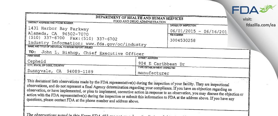 Cepheid FDA inspection 483 Jun 2015
