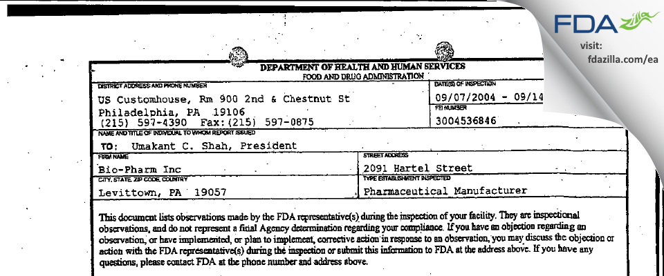 Torrent Pharma FDA inspection 483 Sep 2004