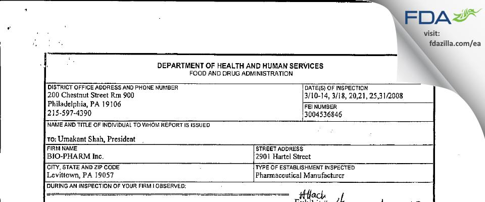 Torrent Pharma FDA inspection 483 Mar 2008