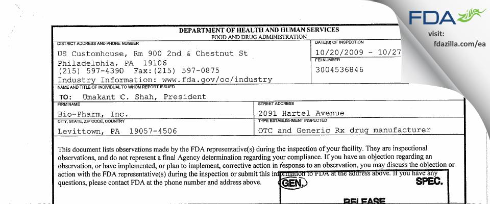 Torrent Pharma FDA inspection 483 Oct 2009