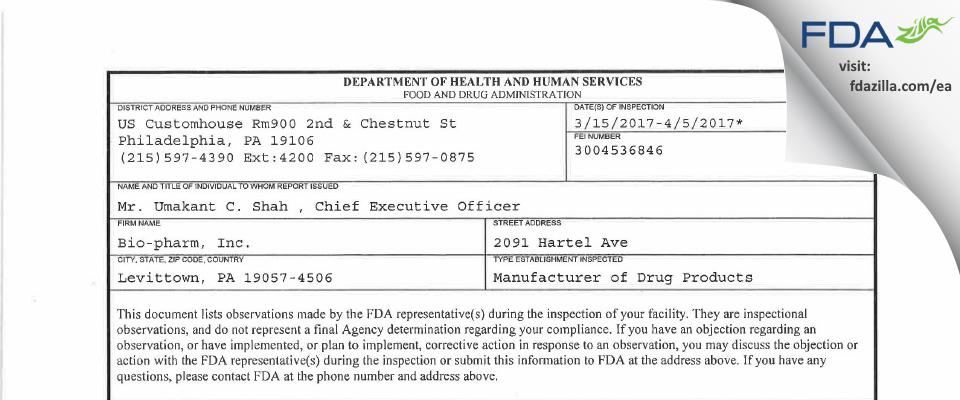 Torrent Pharma FDA inspection 483 Apr 2017