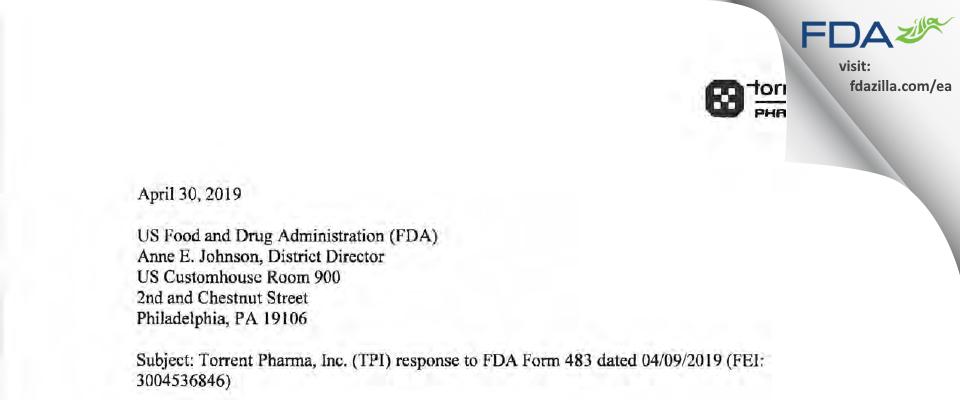 Torrent Pharma FDA inspection 483 Apr 2019