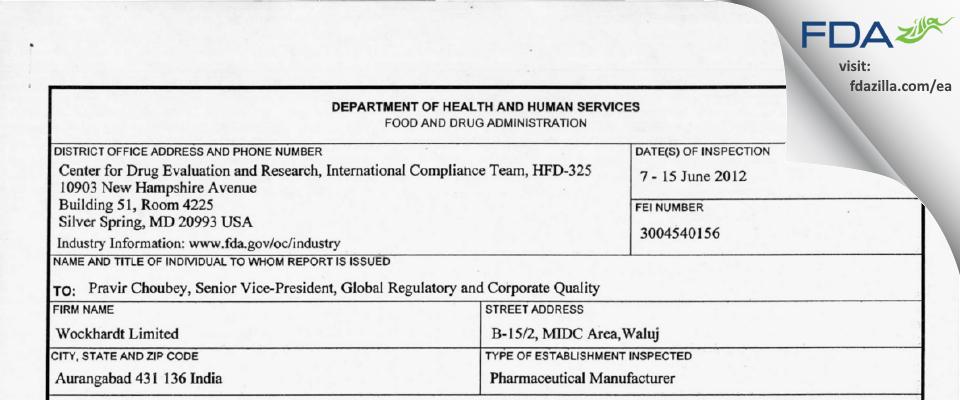 Wockhardt FDA inspection 483 Jun 2012