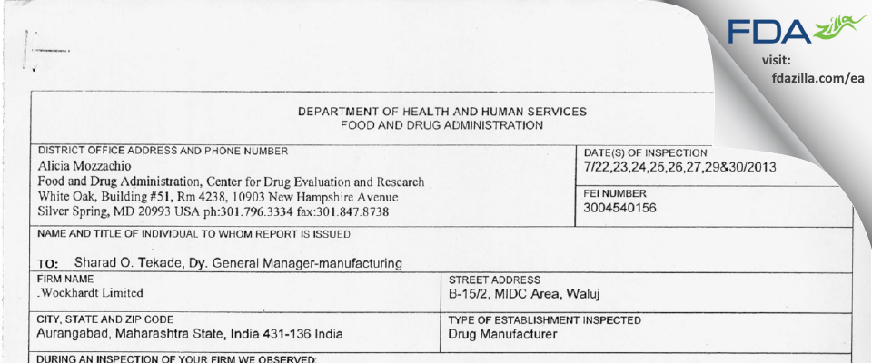 Wockhardt FDA inspection 483 Jul 2013