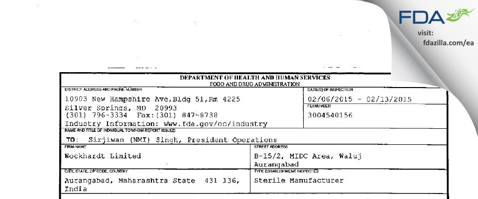 Wockhardt FDA inspection 483 Feb 2015