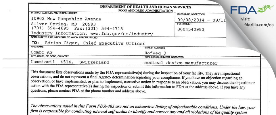 Combo AG FDA inspection 483 Sep 2014