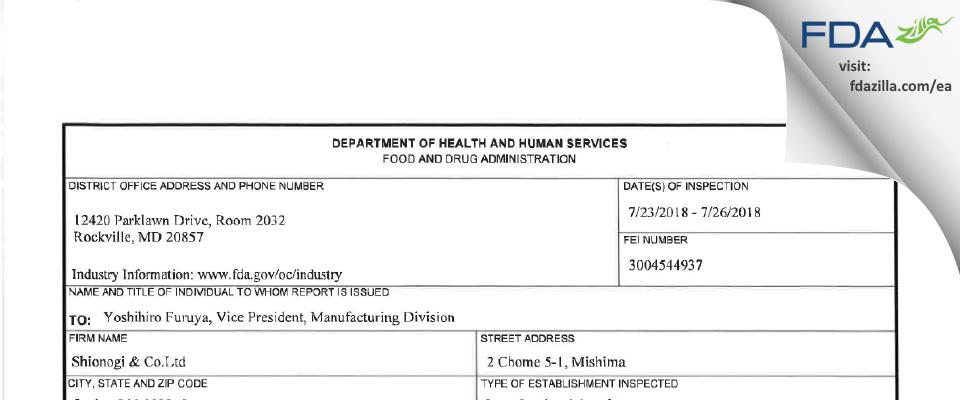 Shionogi Pharma FDA inspection 483 Jul 2018