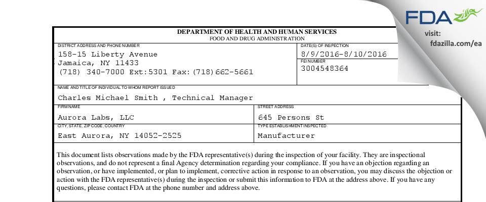 Aurora Labs FDA inspection 483 Aug 2016