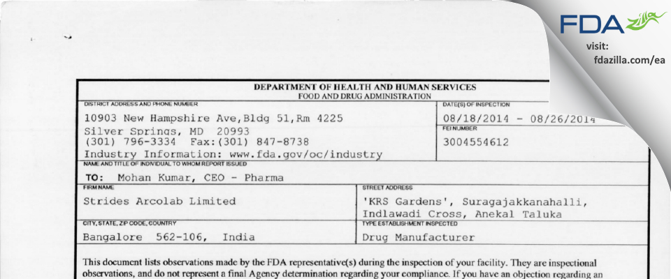 Strides Pharma Science FDA inspection 483 Aug 2014