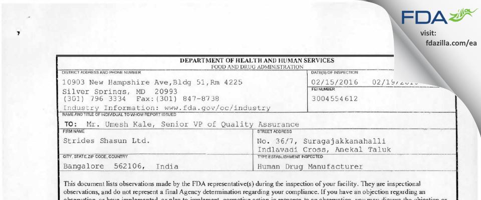 Strides Pharma Science FDA inspection 483 Feb 2016