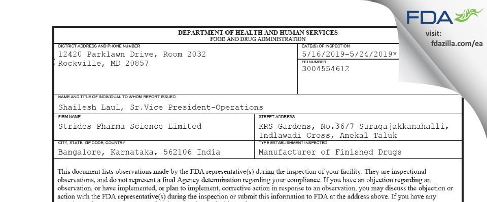 Strides Pharma Science FDA inspection 483 May 2019