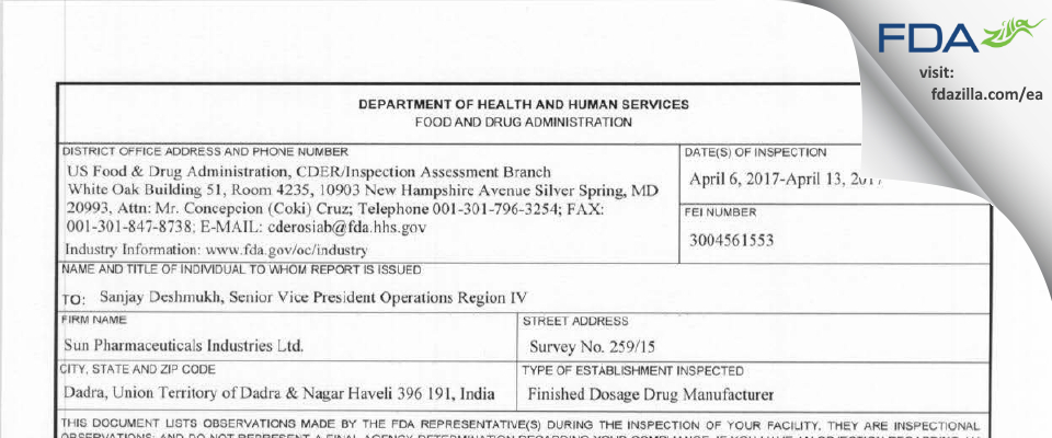 Sun Pharmaceutical Industries FDA inspection 483 Apr 2017