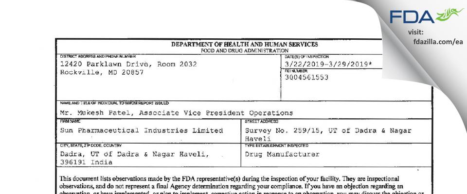 Sun Pharmaceutical Industries FDA inspection 483 Mar 2019