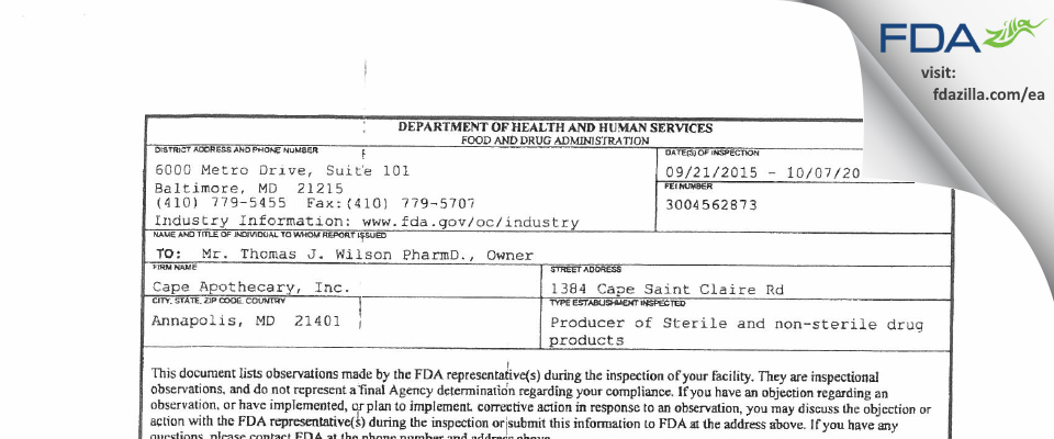 Cape Drugs FDA inspection 483 Oct 2015