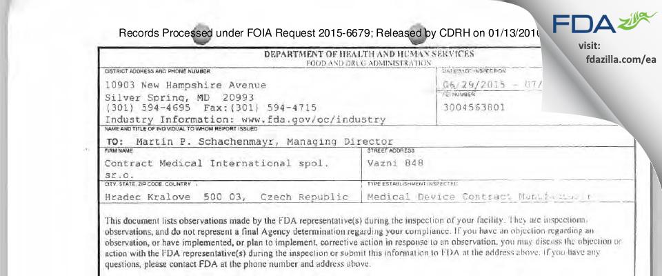 Contract Medical International spol. sr.o. FDA inspection 483 Jul 2015