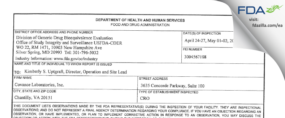 Covance FDA inspection 483 May 2017