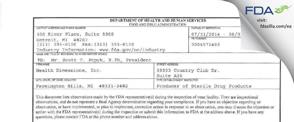 Health Dimensions FDA inspection 483 Aug 2014