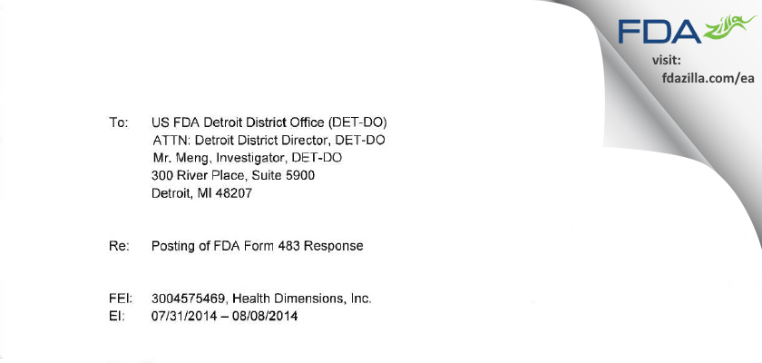 Health Dimensions FDA inspection 483 Aug 2014