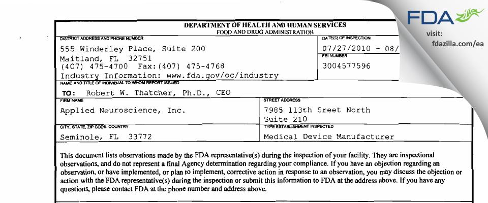 Applied Neuroscience FDA inspection 483 Aug 2010