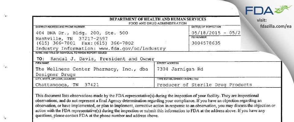 The Wellness Center Pharmacy, dba Designer Drugs FDA inspection 483 May 2015