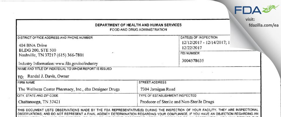 The Wellness Center Pharmacy, dba Designer Drugs FDA inspection 483 Dec 2017