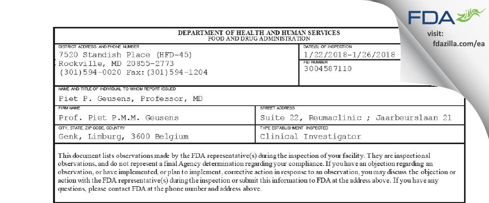 Prof. Piet P.M.M. Geusens FDA inspection 483 Jan 2018
