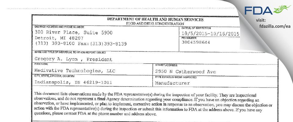 Kimball Electronics Indianapolis FDA inspection 483 Oct 2015