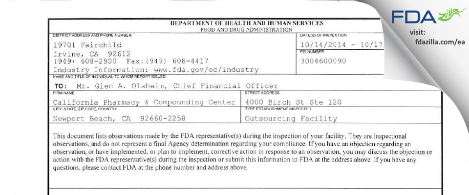 California Pharmacy & Compounding Center FDA inspection 483 Oct 2014