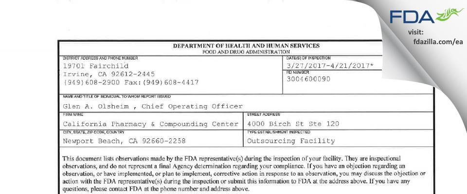 California Pharmacy & Compounding Center FDA inspection 483 Apr 2017