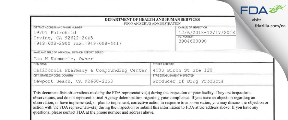 California Pharmacy & Compounding Center FDA inspection 483 Dec 2018