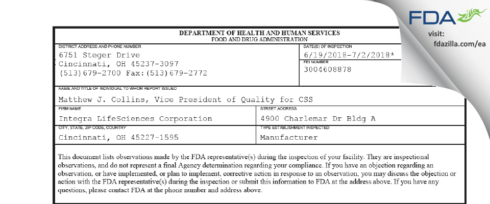 Integra LifeSciences FDA inspection 483 Jul 2018
