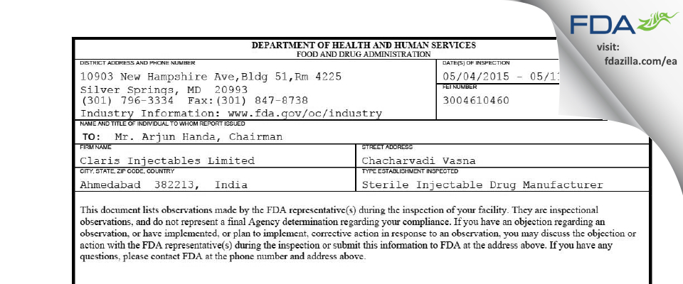 Claris Injectables FDA inspection 483 May 2015