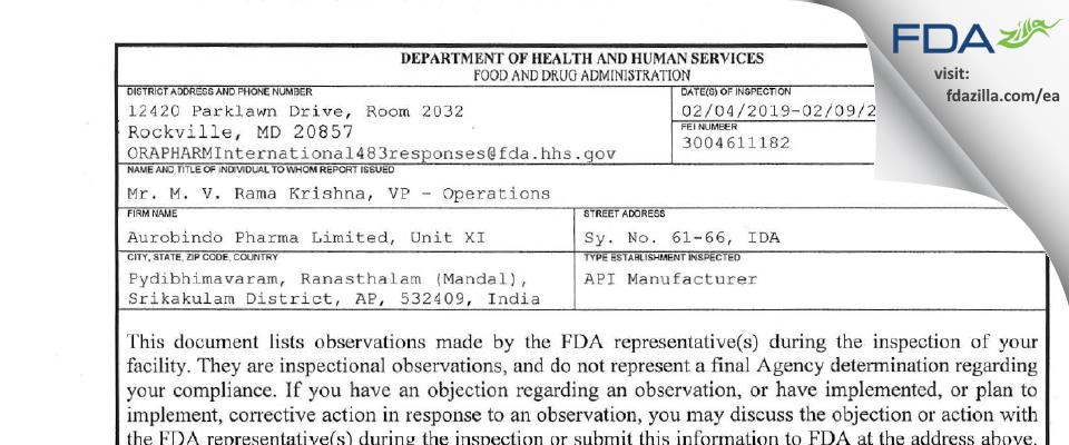 Aurobindo Pharma Limited (Unit XI) FDA inspection 483 Feb 2019