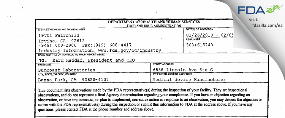 Suncoast Labs FDA inspection 483 Feb 2010