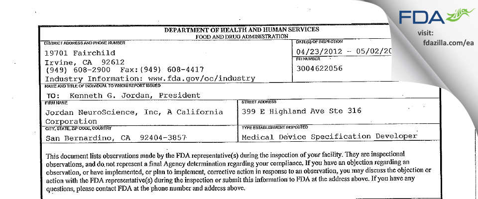 Jordan NeuroScience FDA inspection 483 May 2012